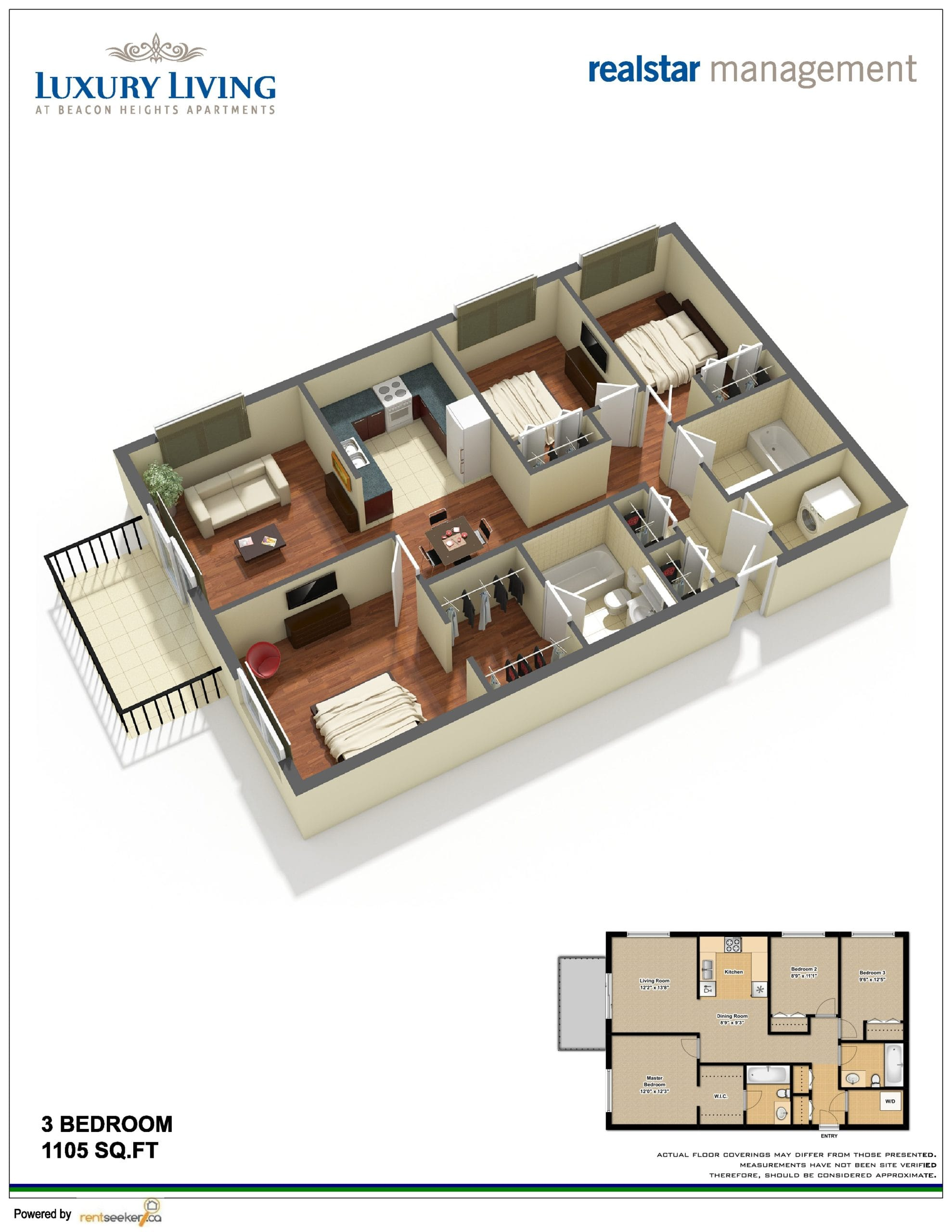 RentSeeker.ca Apartment 3-D Floor Plan for Realstar